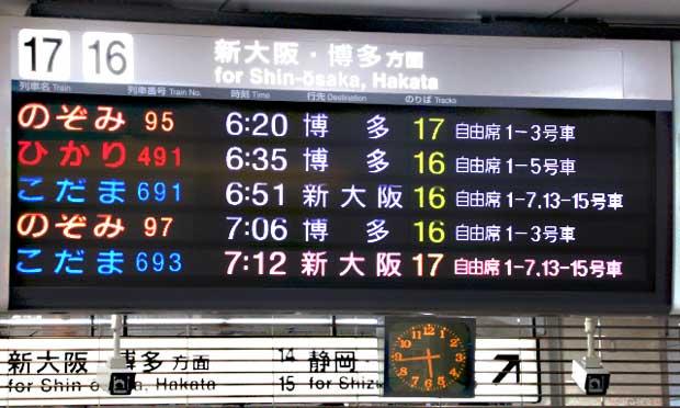 新大阪ー博多新幹線料金比較